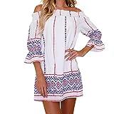 BeautyVan Clearance Deals ! Women Dress 2018 Hot Sale !Women Summer Dress Womens Floral Print Short Slash Neck Dress Slash Neck (M, White)