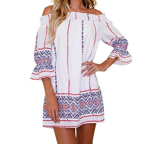 BEAUTYVAN Deals ! Women Dress,Women Summer Dress Womens Floral Print Short Slash Neck Dress Slash Neck