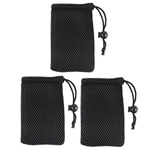 uxcell Black Cell Phone Nylon Mesh Drawstring Pouch Bags 3 Pcs