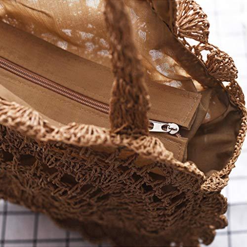 paille Femmes d'été sac sac de plage rondes main Coffee crochet à axPqxRCI