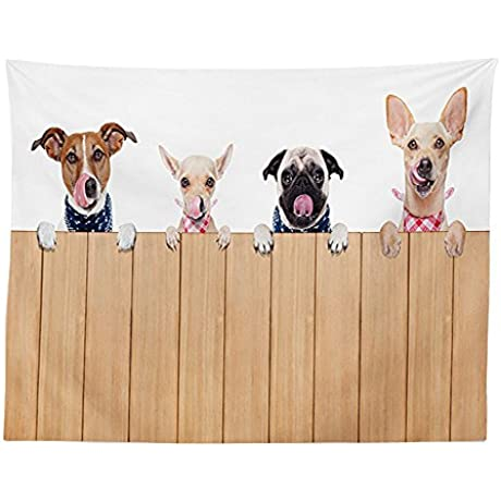 Vipsung Dog Lover Decor Tablecloth Row Of Dogs All Hungry And Tonge Sticking Out A Wall Of Wood Licking Lunch Time Dining Room Kitchen Rectangular Table Cover