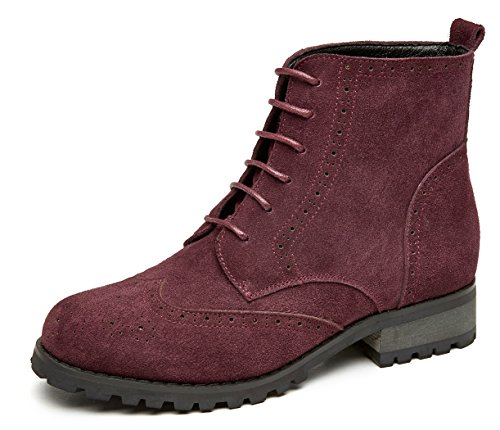 U-lite Womens Lace Up Brogue Leather Oxford Boots, Autumn Winter Martin Combat Ankle Boots Burgundy Suede