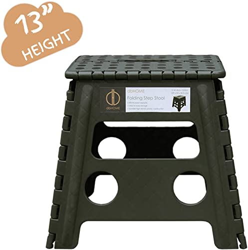 dbHOME Folding Step Stool with Handle for Kids,Children and Adults Stepping Stool 13 Height Garden Step Stool and Holds up to 300LBS Army Green