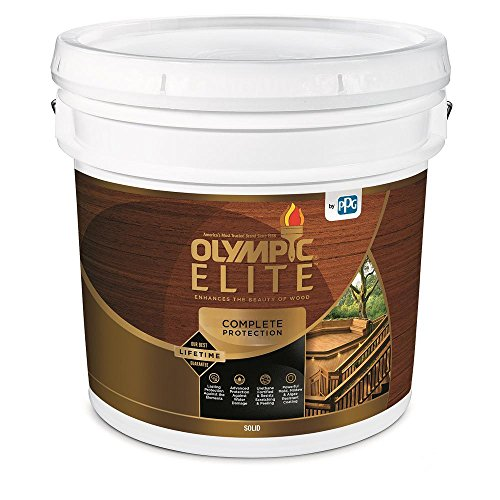 Olympic Elite Advanced Solid Color Stain and Sealant in One Advanced 3-Gallons 80301 White Base 1 ()