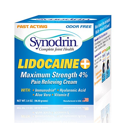 Synodrin Lidocaine Max Topical Joint Arthritis Pain Relief Cream (3.4 Oz) - Natural Rub with Immunodrin, Hyaluronic Acid and Vitamin E for Maximum Pain Relief - With Child Resistant Cap