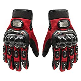 Probiker Full Finger Gloves for Bikers (Red, L)