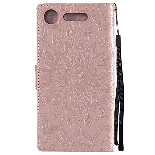 Case For Xperia XZ1,Sony XZ1 Phone Case,BtDuck Leather Wallet Case Vintage Sunflower Case Clear Phone Case Shockproof Full Protection Leather Cover Flip Folio Outdoor Protection Shell with Cards Slots #Rose Gold