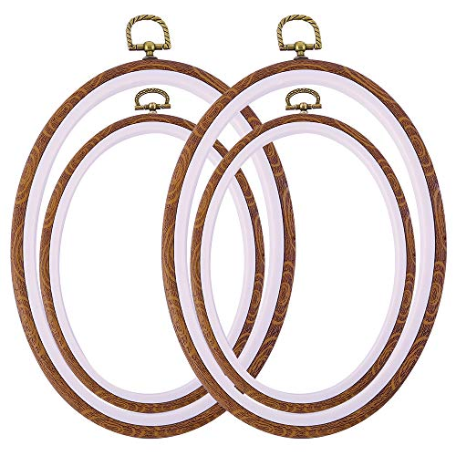 Caydo 4 Pieces 2 Sizes Oval Embroidery Hoop Ring Plastic Cross Stitch Hoops Set Imitated Wood Display Frame Embroidery Kits for Art Craft Sewing and Hanging
