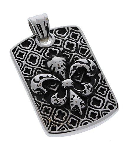 Stainless Steel Medieval Fleur De Lis Cast Dog Tag Pendant by Bladz Jewelry