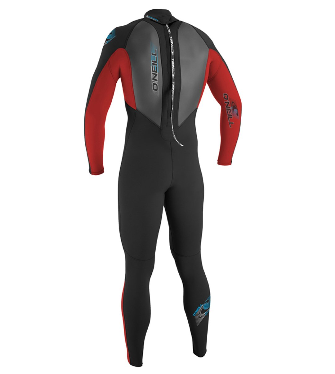 O'Neill Youth Reactor 3/2mm Back Zip Full Wetsuit, Black/Red/Graphite, 8 by O'Neill Wetsuits (Image #2)
