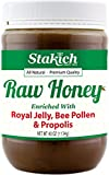 Stakich ROYAL JELLY BEE POLLEN PROPOLIS Enriched RAW HONEY - 100% Pure, Unprocessed, Unheated - 40 oz