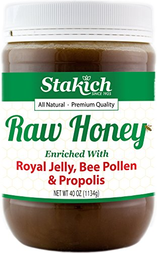 Stakich-ROYAL-JELLY-BEE-POLLEN-PROPOLIS-Enriched-RAW-HONEY-100-Pure-Unprocessed-Unheated-40-oz