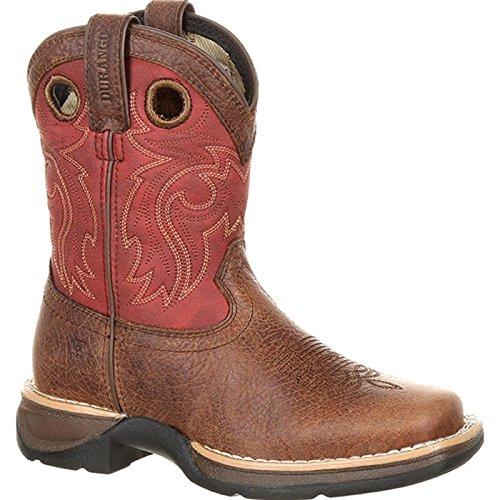 Durango Kid's Lil' Rebel Waterproof Western Saddle Boots, Brown, Distressed Full-Grain Leather Vamp, Rubber, Mesh, Steel, 2 US Little Kid M