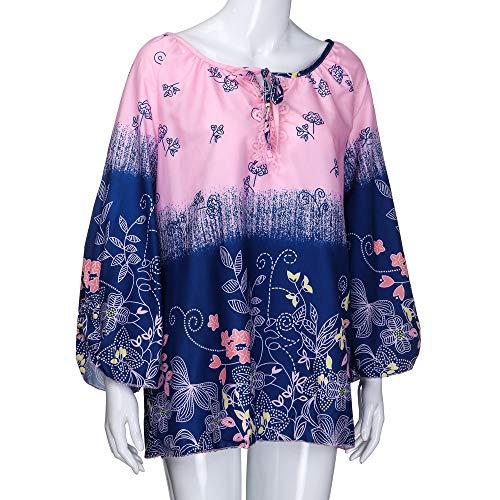Loose S Shirt Solike Bandage Chemise Tops Bretelle Rose Taille Chic Longues T Automne Casual 5XL Grande Printemps Tunique Blouse Femme Impression Floral Manches sans 1CxC05qw