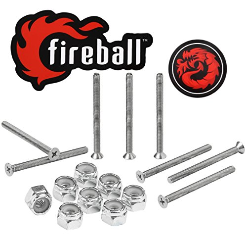 "Fireball Dragon Stainless Steel Skateboard Hardware Set (Flat Phillips, 2.5"")"