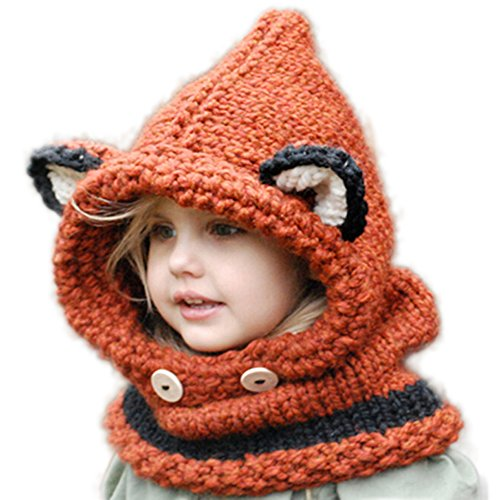 Wua Baby Kids Warm Winter Hat Crochet Knitted Caps Hood Scarves Skull Animal Beanies Autumn Winter (Orange)