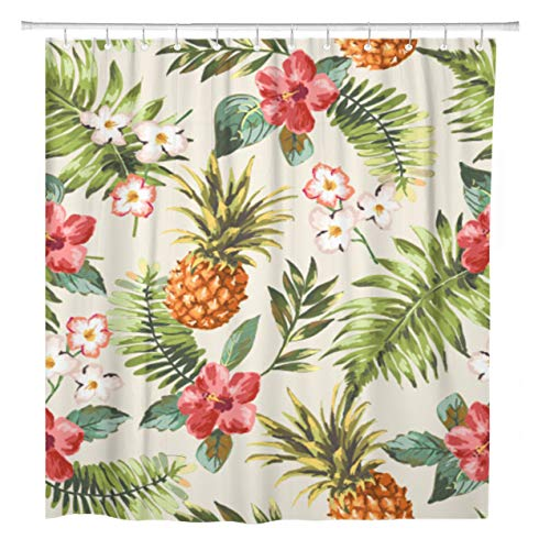 ArtSocket Shower Curtain Watercolor Floral Vintage Tropical Flowers Pineapple Pattern Blue Hawaiian Home Bathroom Decor Polyester Fabric Waterproof 72 x 72 Inches Set with Hooks (Vintage Shower Curtain Tropical)