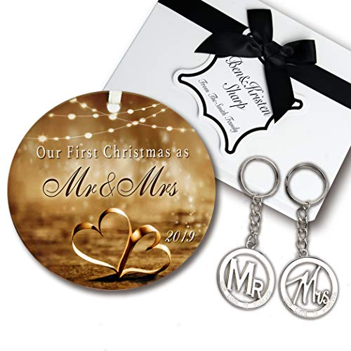 Wedding Gift Set - Elegant Our First Christmas Ornament 2019 with Mr and Mrs Metal Keychains - Includes designer keepsake box and gift tag - Perfect wedding gifts for the -