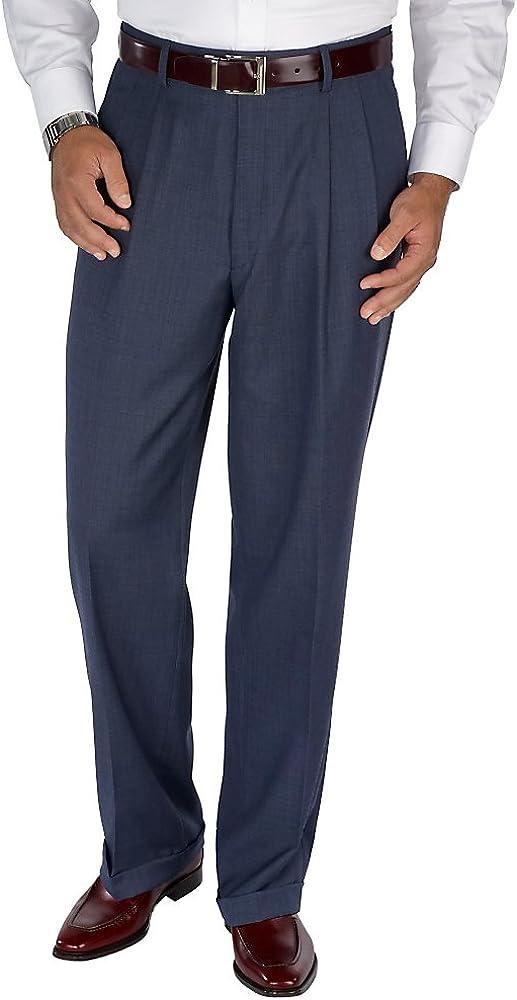 Paul Fredrick Men's Classic Fit Sharkskin Pleated Pant