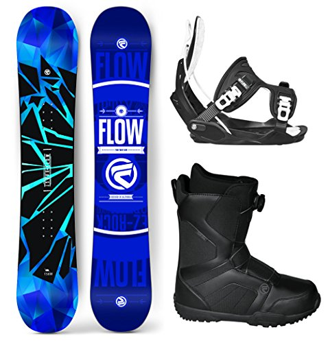 Flow 2019 Burst 162 Wide Men's Complete Snowboard Package Bindings BOA Boots 4 YR Warranty- Board Size 162 Wide
