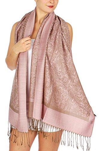 SERENITA Intricate paisley jacquard pashmina Light Pink,One Size