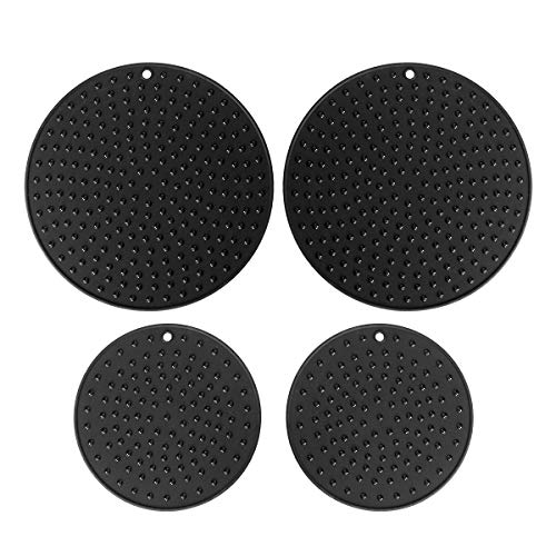 Extra Large, Extra Thick Silicone Trivet Mat Set For Hot Dishes,Pots and Pans, Kitchen Hot Pads for Countertop and Table, Silicone Pot Holders, 2 Extra Large and 2 Regular Sizes S/4 (Black) ()