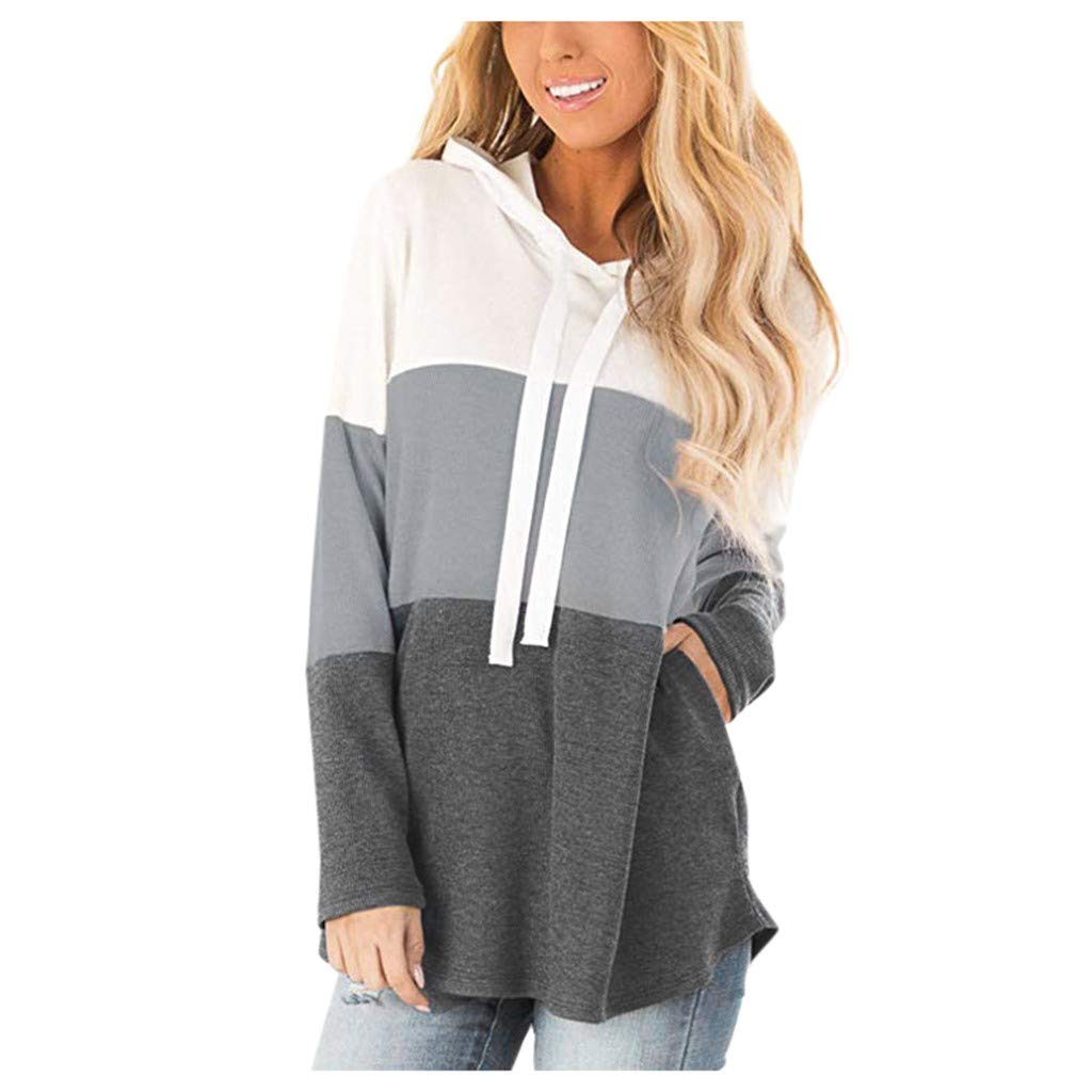 Fammison Womens Color Block Pullover Hoodies Loose Drawstring Sweatshirt Hooded Tops with Pockets Gray by Fammison