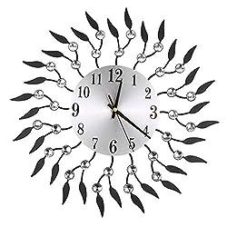CZYCO Diamond Fashion Wall Clock Bedroom Silent Metal Wall Clock Decor