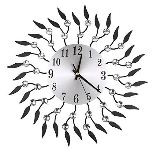 - FeiFei66 Beautiful and Fashionable Large Volume Wrought Iron Diamond Fashion Wall Clock Bedroom Silent Metal Wall Clock Decor (Black)