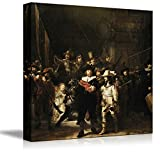 "Nachtwacht (or The Night Watch) by Rembrandt - Canvas Wall Art Famous Fine Art Reproduction| World Famous Painting Replica on Wrapped Canvas Print Modern Home Decor Wood Framed & Ready to Hang - 24"" x 24"""