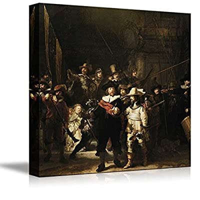 Nachtwacht (or The Night Watch) by Rembrandt Famous Fine Art Reproduction World Famous Painting Replica on ped Print Wood Framed Wall Decor