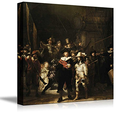 Nachtwacht (or The Night Watch) by Rembrandt - Canvas Wall Art Famous Fine Art Reproduction| World Famous Painting Replica on Wrapped Canvas Print Modern Home Decor Wood Framed & Ready to Hang - 24