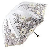 Honeystore Sun Protection Vintage Lace Parasol Decorative Umbrellas for Wedding BM1820 Grey