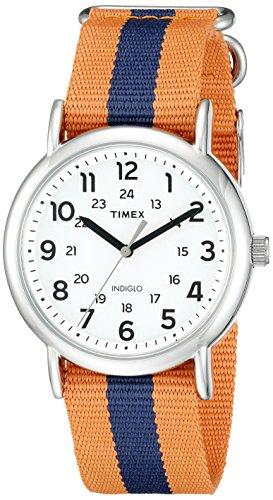 Timex Unisex TW2P68200 Weekender Orange/Blue Stripe Nylon Slip-Thru Strap Watch