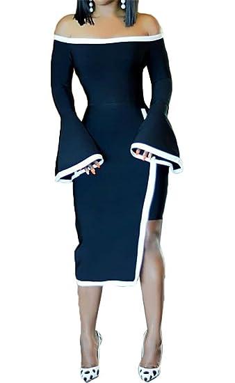 60fcede8a84f Women s Sexy Asymmetric Hem Flare Bell Sleeve Bodycon Club Party Mini Dress