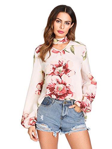 Floerns Women's Choker V Neck Floral Print Lantern Sleeve Blouse Top White-1 L - Lantern Sleeve V-neck Top