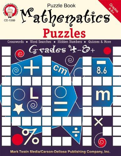 Mathematics Puzzles, Grades 4 - 12: Mark Twain Media: 0044222143497 ...