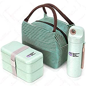 Quantum Lunch Box – salvagoccia e Senza BPA – Jausen Box per Bambini e Adulti – Bento Box con Posate, Bottiglia d'Acqua e Una Borsa allattante. Verde 2 spesavip