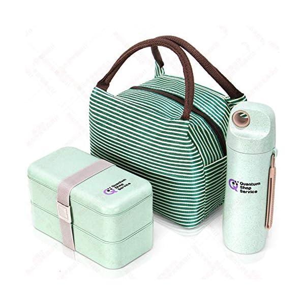 Quantum Lunch Box – salvagoccia e Senza BPA – Jausen Box per Bambini e Adulti – Bento Box con Posate, Bottiglia d'Acqua… 1 spesavip