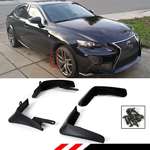 Cuztom Tuning 4 Pieces Front & Rear Splash Guard Mud Flap Fits for 2014-2017 Lexus IS250/350/200T/300