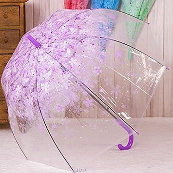 HAN-NMC Cherry Paraguas plegable paraguas transparente niño paraguas largo,C