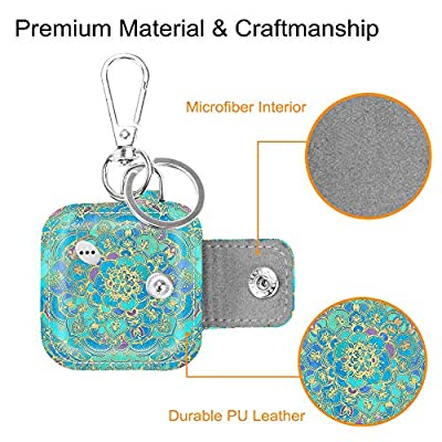 Fintie Case for Tile Mate/Tile Pro/Tile Sport/Tile Style/Cube Pro Key Finder, Vegan Leather Protective Cover for 2020 2020 and All Generations Tile, Shades of Blue