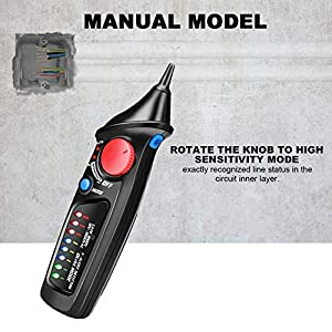 Voltage Tester, ToHayie Non-Contact Electrical Voltage Detector Pen AC 12V-1000V with LED Flashlight, Automatic & Manual Dual Mode Selection, Adjustable Sensitivity, Alarm Mode Live/Null Wire Judgment
