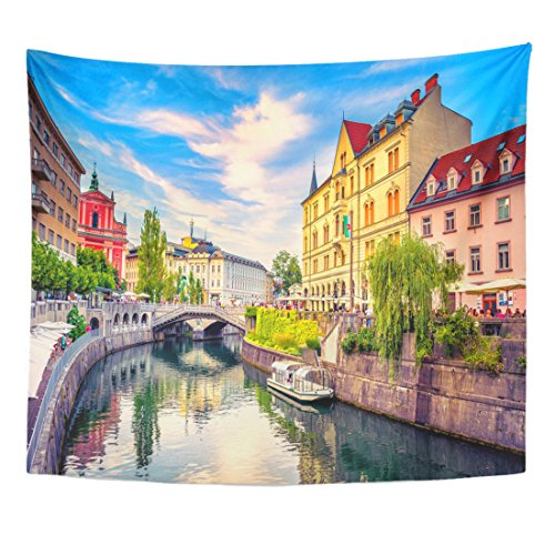 Franciscan Tapestry - TOMPOP Tapestry Cityscape View on Ljubljanica River Canal in Ljubljana Old Home Decor Wall Hanging for Living Room Bedroom Dorm 50x60 Inches
