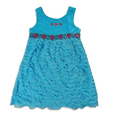 Lipstik Big Girls' - Big Girls' Sleeveless Dress, Turquoise (Lipstik Green)
