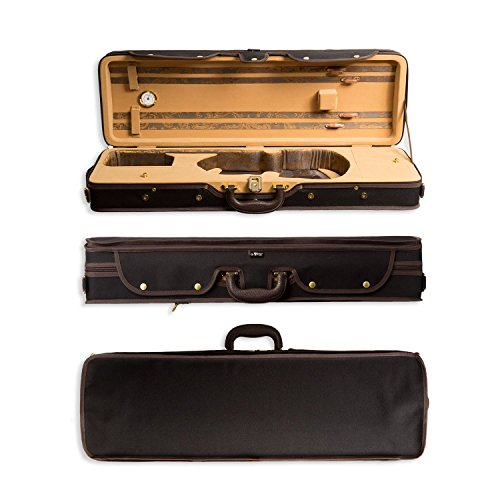 Aileen 4/4 Full Size Luxury Vintage Pattern Lightweight Oblong Hard Violin Case with Hygrometer and Carry ()