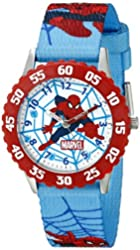 Marvel Kids' W001242 Spider-Man Red Stainless Steel Bezel Watch with Blue Strap