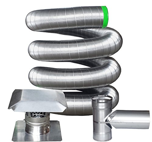 - Rockford Chimney Supply RockFlex Stainless Steel Flexible Chimney Liner Tee Kit, 6 Inch x 25 Feet