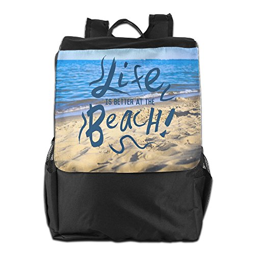 Storage and Men Strap for Outdoors Personalized Women Dayback Adjustable at Backpack Life School Travel The Beach is Better Shoulder Camping HSVCUY ZHqT6Rnww