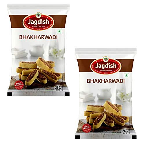 Jagdish Farshan Bhakharwadi (Garlic || Regular) Namkeen || Healthy and Hygienic || Delightful Ready to Eat || 250 GMS Pack of 2